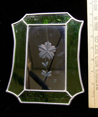 Signed J P Stained Glass Decoration Green & Clear Glass w/ Frosted Flower Design