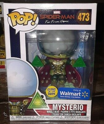 Funko Pop Mysterio #473 Spiderman Far From Home Glow In The Dark Walmart GITD
