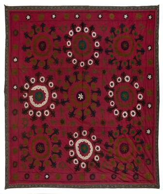 7x7.4 Ft Central Asian Suzani Textile. Embroidered Cotton & Silk Bed Cover