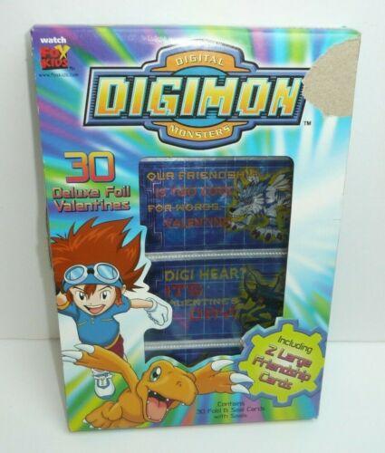 Vintage Digimon Valentines Day Cards 2000 Fox Kids Digital Monsters vtg Foil