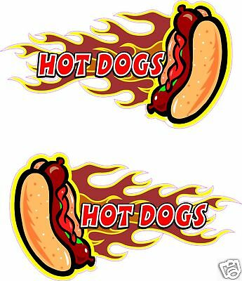2 Hot Dogs Concession Hot Dog Fast Food Truck Decal 13 Each Vinyl Sticker