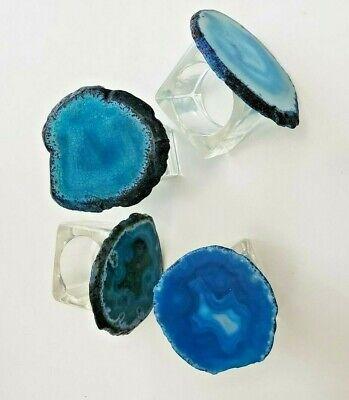 $150 KIM SEYBERT AGATE SLAB NAPKIN RINGS COBALT BLUE SET OF 4 NEIMAN MARCUS