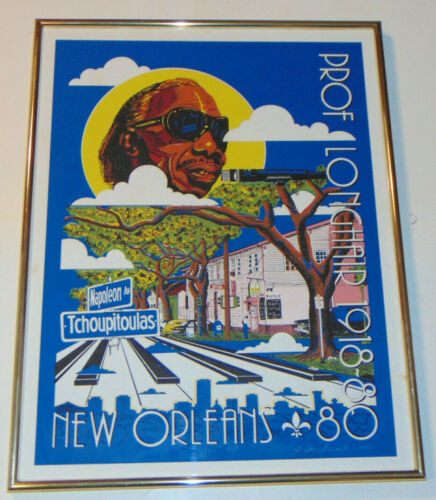 VINTAGE 1983 PROF LONGHAIR NEW ORLEANS POSTER! BLUES! FRAMED! SIGNED / NUMBERED!