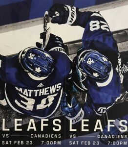 2 TICKETS TO TORONTO MAPLE LEAFS VS MONTREAL CANADIENS