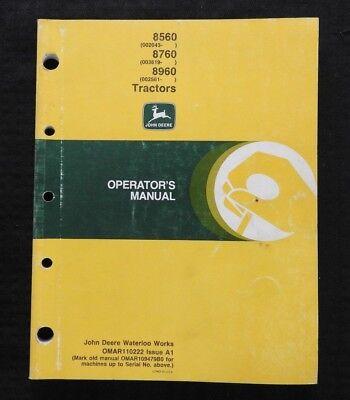 Original John Deere 8560 8760 8960 Tractor Operators Manual Very Good Shape
