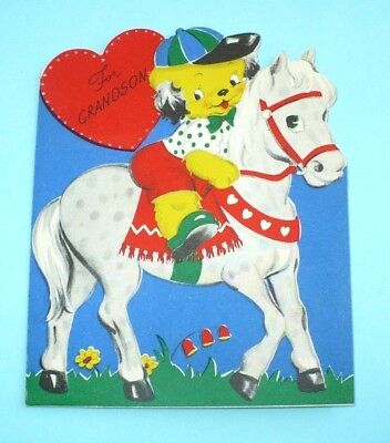 VINTAGE VALENTINE DOG W/CLOTHES RIDING PONY DIE CUT USED GREETING CARD VOLLAND