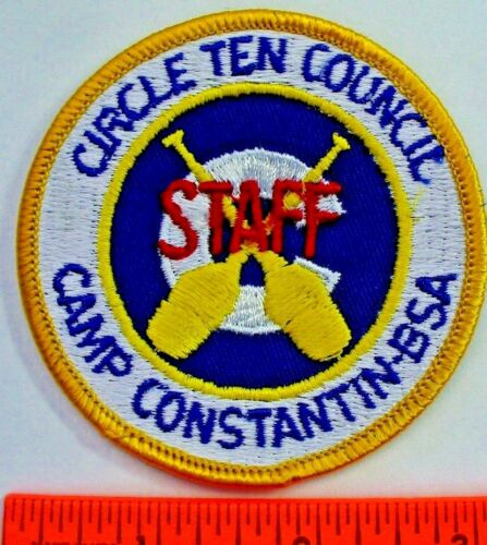 Camp Constantin STAFF Patch Circle Ten Council Texas Yellow Border Twill MINT