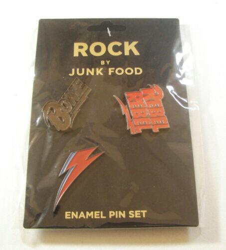 David Bowie Rebel Rebel Rock Enamel Pins 3 Pin Set By Junk Food