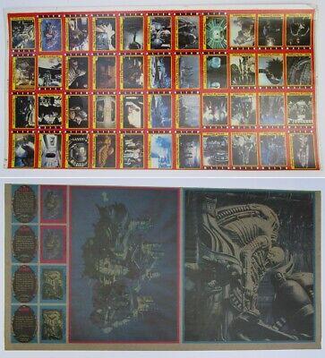 Alien 1979 Topps Puzzle Card Un-Cut Sheet 44 Alien Cards Ridley Scott Aliens