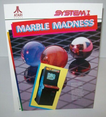 Marble Madness Arcade FLYER Original Atari 1984 NOS Video Game Artwork Sheet