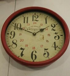 "Antiquitè  De Paris 28 Rue Murillo Red Distressed Metal Rim Wall Clock 13""X 13"""
