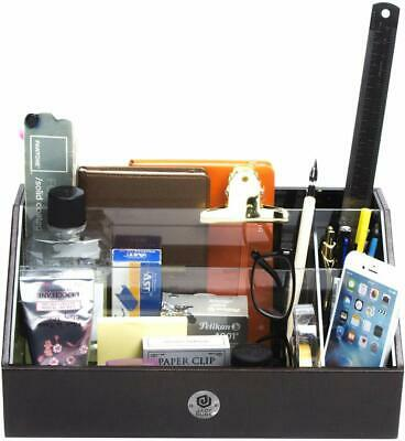 Leatherette Desk Organizer Caddy - Office Supplies Desktop Tabletop Holder