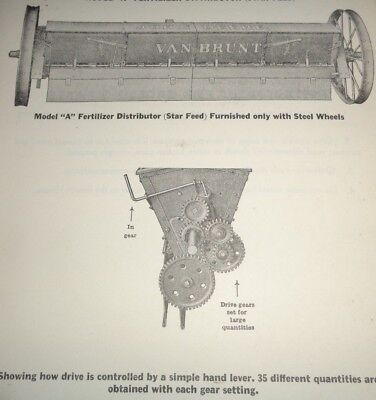 John Deere Model A Fertilizer Distributor Parts Catalog Manual Book Van Brunt Jd