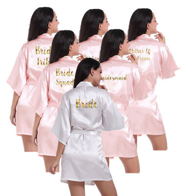 Personalized  Satin Silk Wedding Bath Kimono Robe Bridesmaid Bride Dressing Gown](Personalized Bridesmaid Robes)