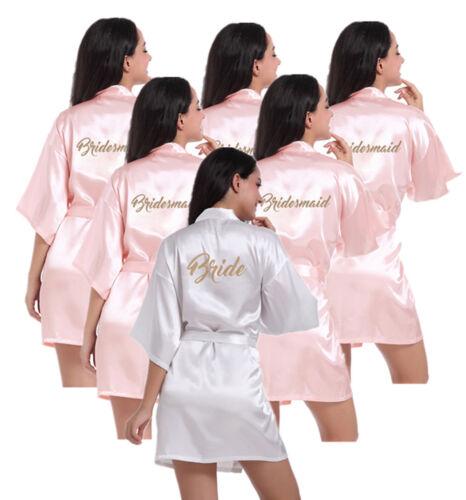 Pink Set of 6/pcs Bride Bridesmaid Robe Wedding Kimono Bathrobe Satin Silk Gown