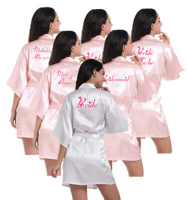 Personalised Satin Wedding Bride Robe Bridesmaid Mother Parrty Dressing Gown Hen