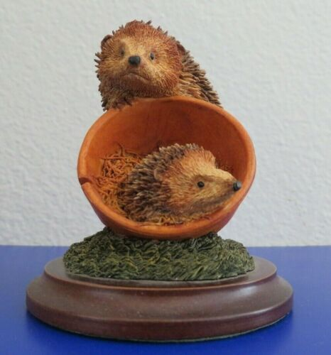 Delicate Worcester Studio Figurine with 2 Hedgehogs and Flower Pot 90s
