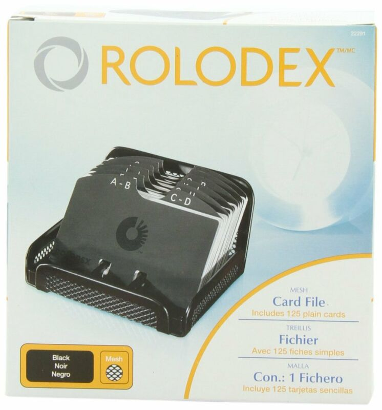 Rolodex Card File, MESH Open Business Card File125-Cards2-1/4x 4,Box of 1, Black