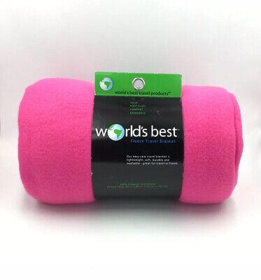Worlds Best Cozy Soft Microfleece Travel Blanket 50x60 Inch 100% Polyester Pink