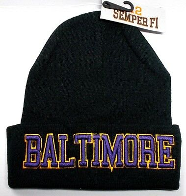Baltimore Ravens Team Color 3D Direct Embroidered Beanie Knit Cap