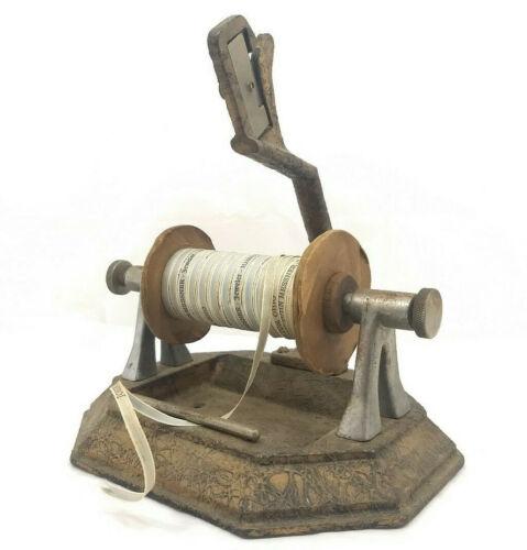 Rare Antique Vintage Cast Iron Ribbon Spool Holder w/ Cutter, Countertop Store