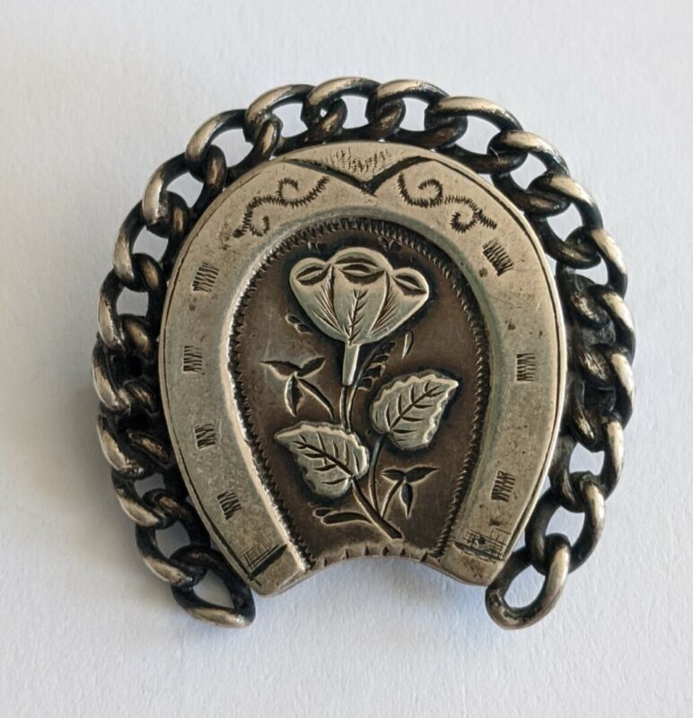 Antique Victorian Sterling Horseshoe Pin Brooch