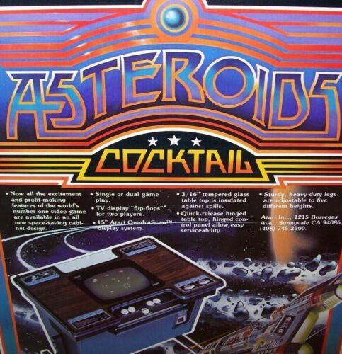 Asteroids Cocktail Arcade FLYER Original Atari 1980 Video Game Artwork Sheet
