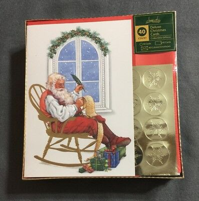 Set of 40 Deluxe Christmas Cards by Image Arts Santa