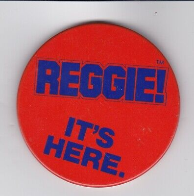 "Vintage 3"" MLB Baseball Reggie Jackson Candy Bat It's Here Pinback Button"