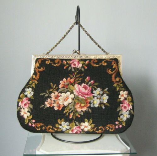 Vintage Large Tapestry Needlepoint Carpetbag Purse Black Floral