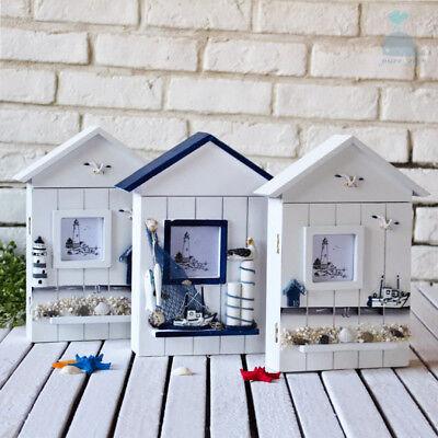 Ocean Style Wooden Wall Key Cupboard Cabinet Rack Holder Storage Box 6 Hooks