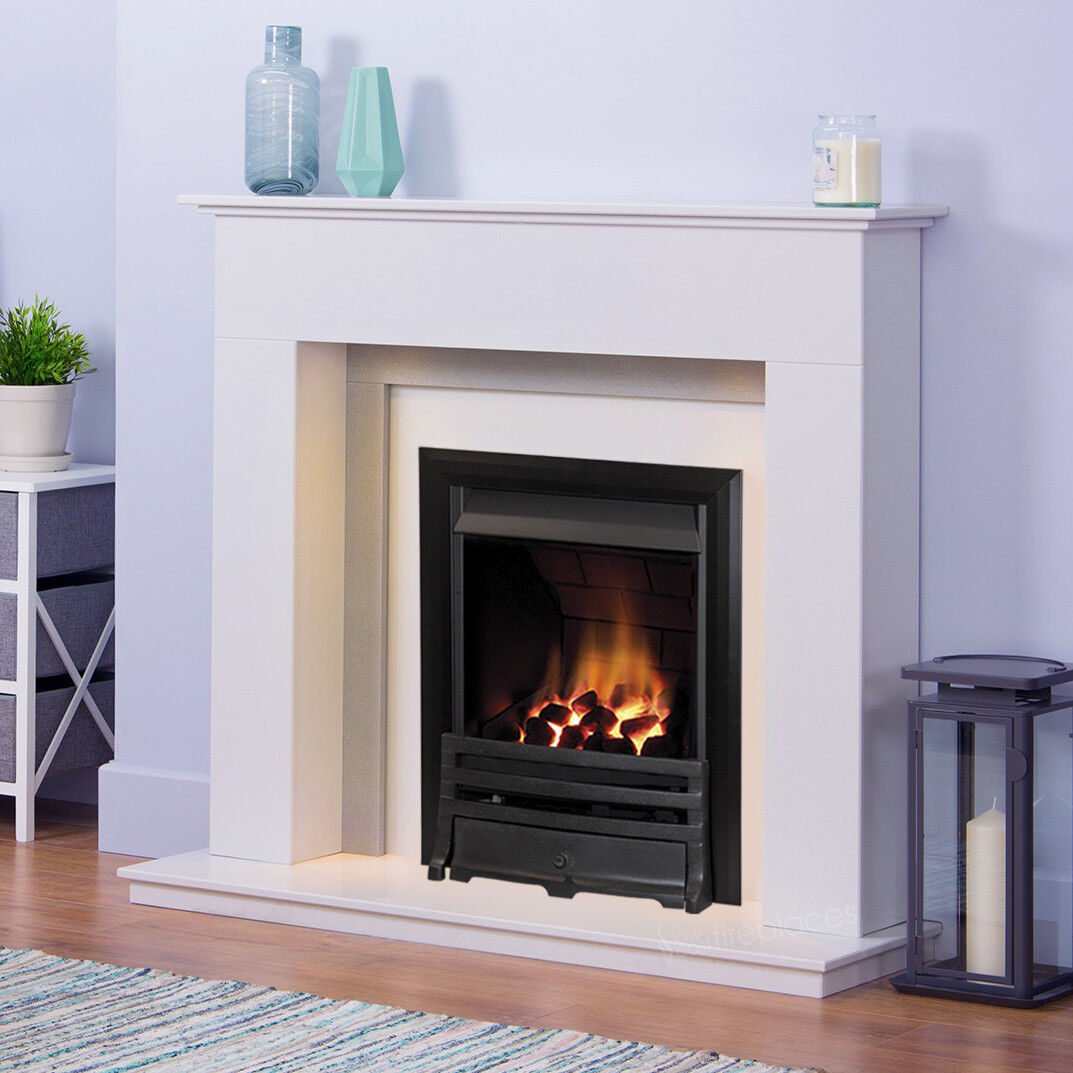 Gas White Grey Marble Stone Wall Surround Lights Black Fire Fireplace Suite Ebay