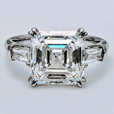 Natural 1.90 ct Asscher Cut w/Baguette 3 Stone Diamond Engagement Ring G VS1 GIA