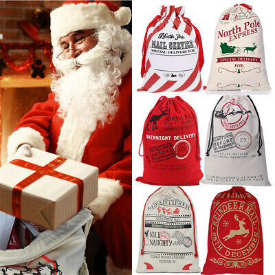 Large Christmas Bags (Extra Large Christmas Bag Personalized Canvas Burlap Cotton Drawstring Gifts)