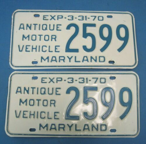 1970 Maryland License Plates Antique Motor Vehicle excellent