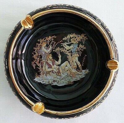 - Grecian Design Dark Blue / Black,  24 K Gold Trim Ashtray, Hand Made in Greece