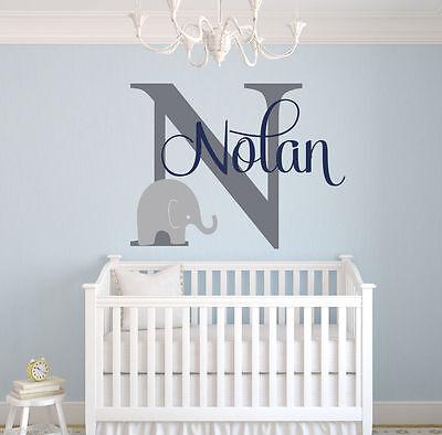 Nursery Name Art - Custom Elephant Name  - Boys Nursery Wall Decals - Elephant Wall Art SA06