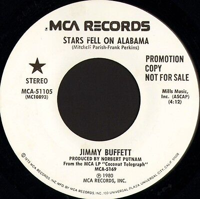 "JIMMY BUFFETT stars fell on alabama MCA-51105 promo usa mca 1980 7"" WS EX/"