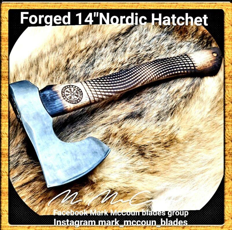 "HAND FORGED 14"" NORDIC HATCHET  POLL TOMAHAWK  BY MARK MCCOUN AXE #5"