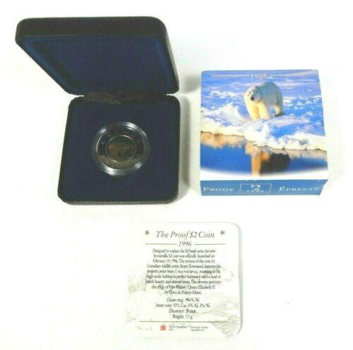 1996 RCM PROOF Polar Bear Canada $2 Canadian Bimetallic Coin Box COA and Sleeve