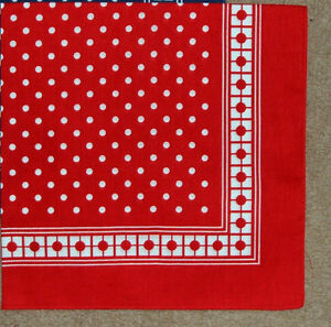 100% COTTON MENS LARGE RED SPOTTED HANDKERCHIEF - 55 cm