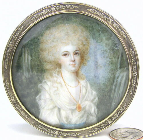 Antique French Sterling Round Patch Snuff Box Engine Turned Portrait Grand Tour