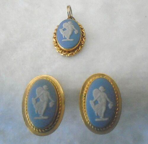 Estate WEDGWOOD JASPERWARE CAMEO  PENDANT 12K GF VAN DELL + Pierced Earrings