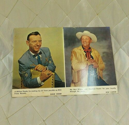 Hank Snow & Wilf Carter RCA Victor 25 Yr Promo Photo Card 1961 Vintage Original