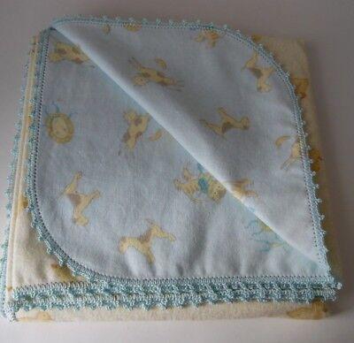 Flannel Baby Blanket & Burp Crochet Edge~43