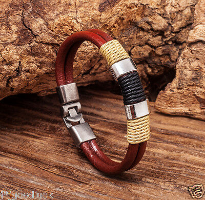 Surfer Mens Cool Hemp Cords Genuine Leather Wrap Bracelet Wristband Cuff BROWN