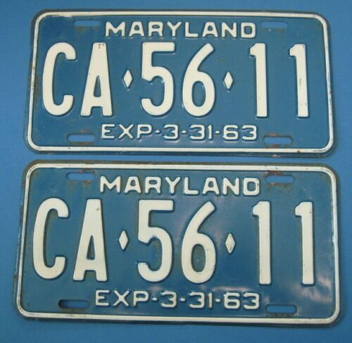 1963 Maryland License Plates Matched Pair