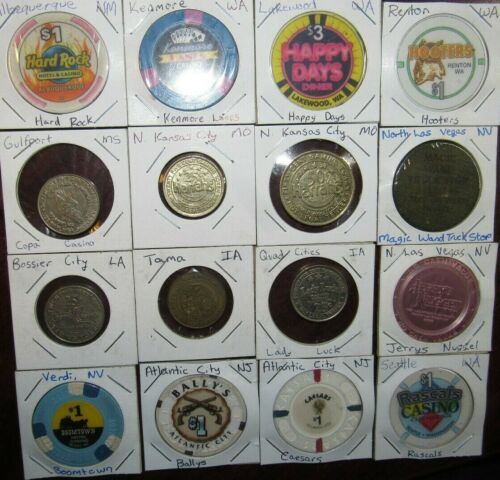Lot of 16 different Casino Poker Chips & Gaming Tokens - IA LA MS MO NM NV WA #4