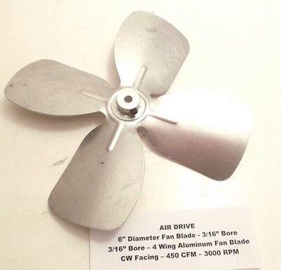 Air Drive 6 Diameter X 316 Bore Fan Blade - 4 Wing Aluminum Fan Blade - Cw -