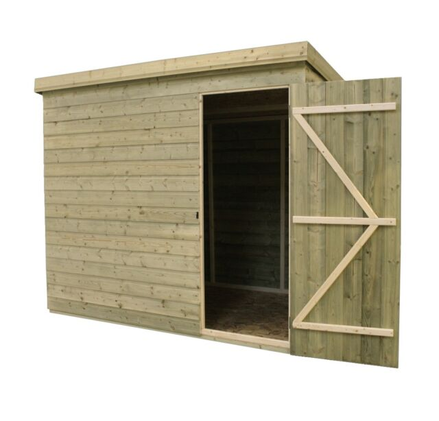 Garden Shed Shiplap Pent Roof Tanalised Door Right Ebay